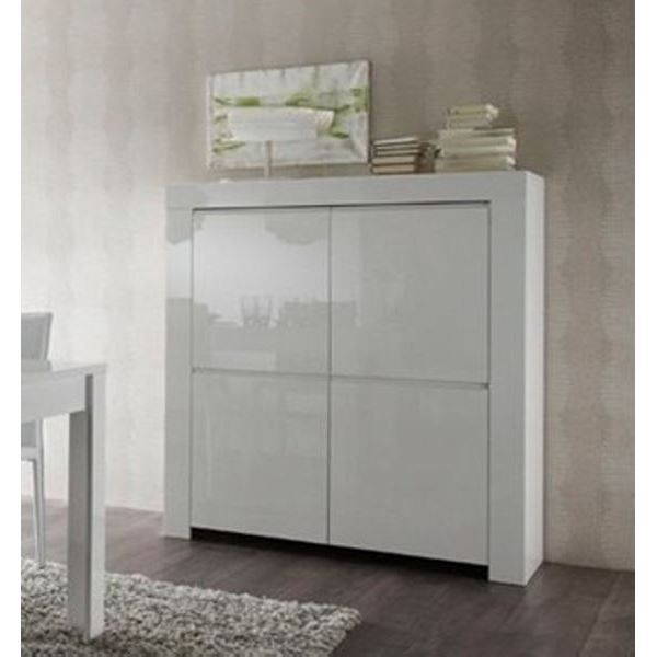 meuble de rangement moderne blanc laqu 4 porte achat vente vitrine argentier meuble de. Black Bedroom Furniture Sets. Home Design Ideas