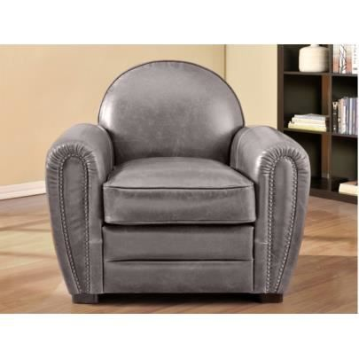 fauteuil club en cuir vieilli baudoin gris achat. Black Bedroom Furniture Sets. Home Design Ideas