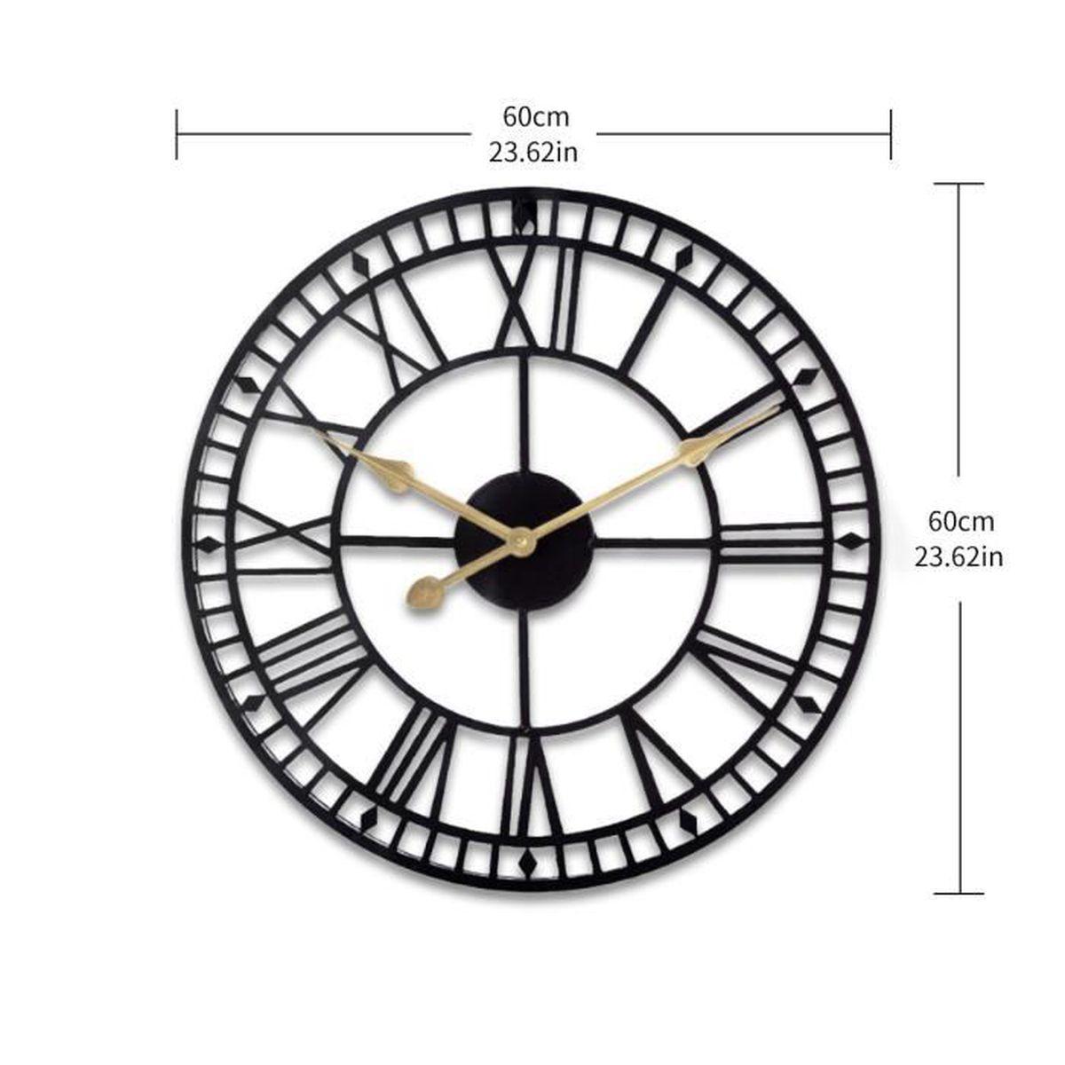 Grosse Horloge Fer Forgé grande horloge murale antiquité noire grande taille 60cm pour bureau de  salon, facile à lire avec chiffres romains