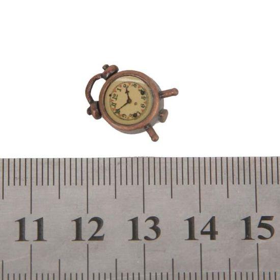 1//12th maison de poupées miniature silver alarm clock neuf