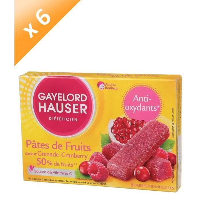 [LOT DE 6] GAYELORD HAUSER Pâtes de Fruits Grenade Cranberry Anti-oxydant - 125 g
