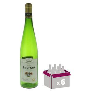 VIN BLANC Carton de 6 Pinot gris Vin d' Alsace - Blanc sec -