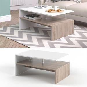 TABLE BASSE Table basse Sonoma Chêne Blanc 42 x 90 x 60 cm