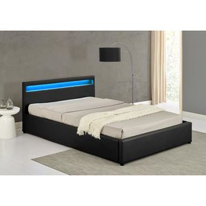 lit 140x190 avec sommier a led achat vente lit 140x190. Black Bedroom Furniture Sets. Home Design Ideas