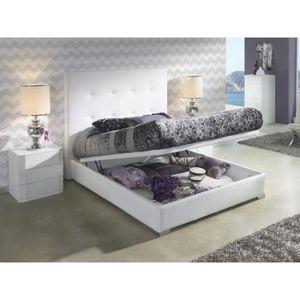 STRUCTURE DE LIT Lit coffre KILIMA 160x200cm en PU blanc - L 200 x