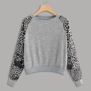 Haut Imprimer Mode gris O Block Cour Leopard Patchwork Femmes Sweat shirt Neck Color TKFc3l1J