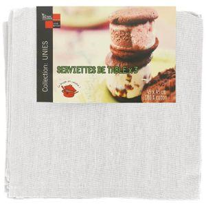 SERVIETTE DE TABLE Lot 3 Serviettes De Table Luxe 100% Coton Imprime
