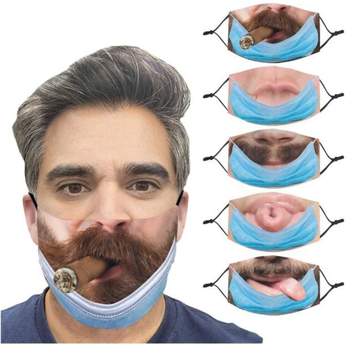 5PCS Unisexe Adulte Visage Imprimé Visage Drôle Masque De Cyclisme Respirant En Plein Air j535