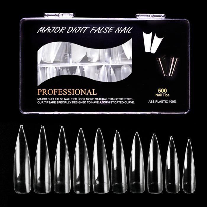 【Vernis à ongle】500PCS Extra Long Faux Ongles Conseils Acrylique Gel Salon Demi-Couverture Astuce Nail Outils_GTt2822