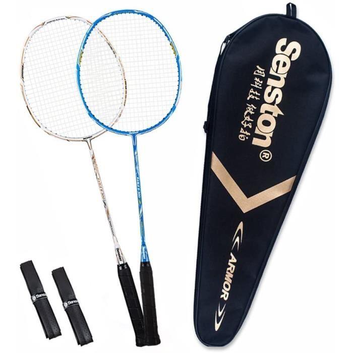 Senston S300 Haute Qualité supérieur Set de Raquettes Badminton Pleine Carbone Raquettes Bonne stabilité 2 Raquette and 2 surgrips