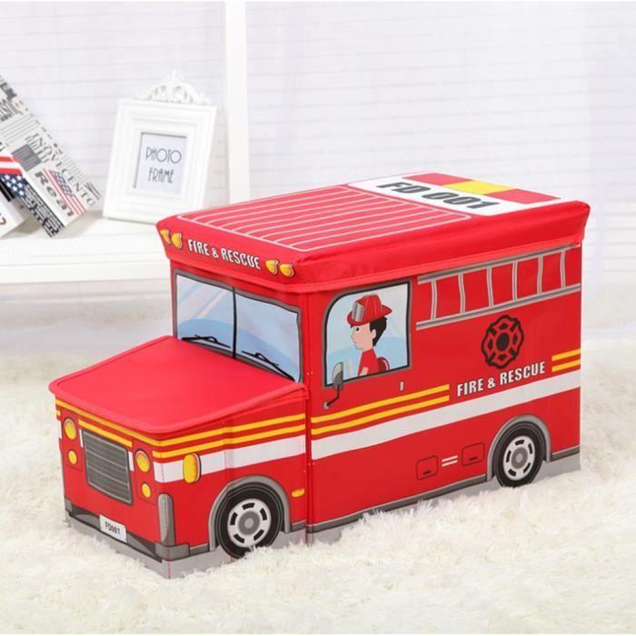 Tabouret de rangement pliant pour enfant Boîte de Rangement pour Jouets d'enfant Décor chambre Cadeau enfants, Camion de pompiers