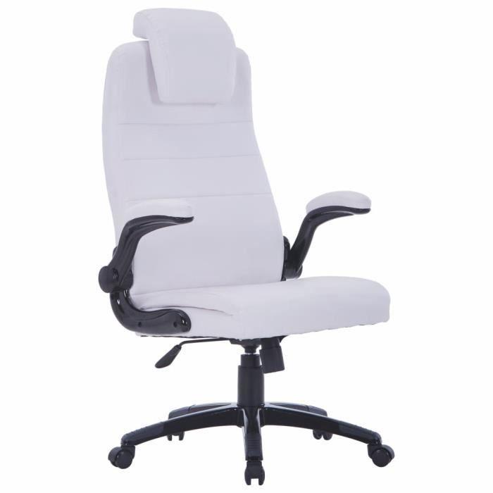 Chaise de Bureau blanc en simili-cuir Fauteuil professionnel directeur président dirigeant entrepreneur siège roues roulettes pas c