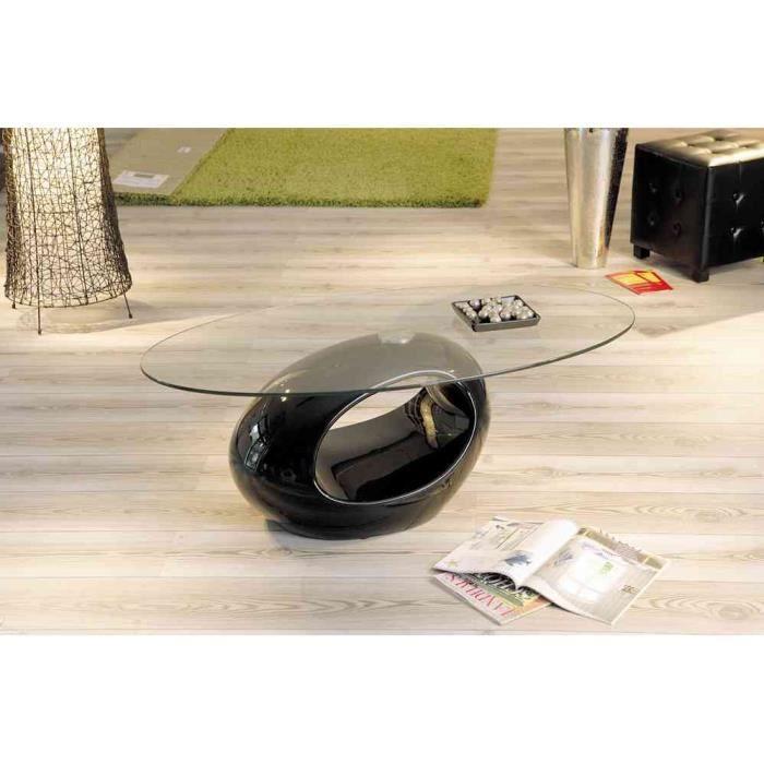 Table basse ronde verre noire
