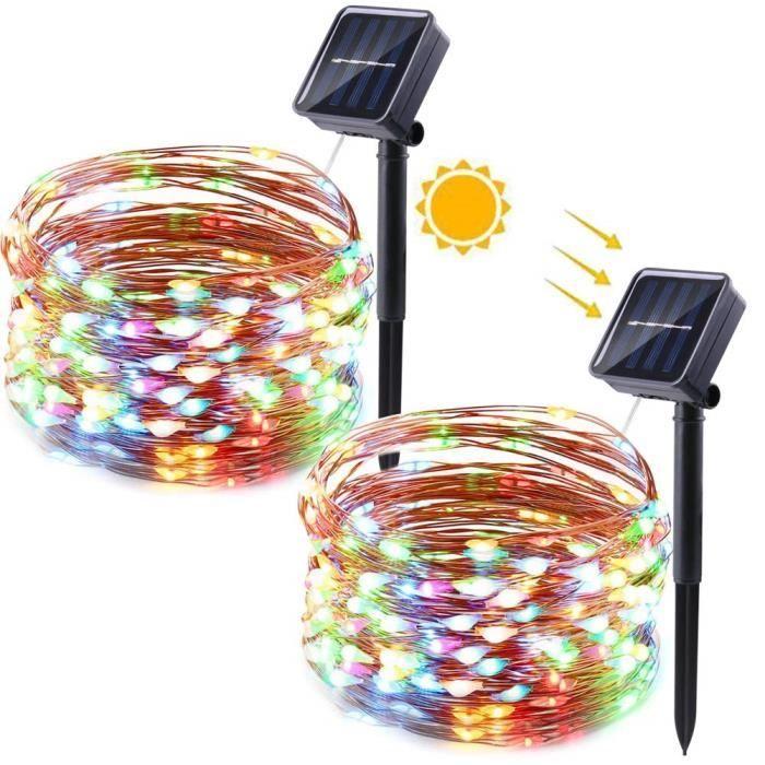 Qedertek Lot de 2 Guirlande Solaire Extérieure en Fil Cuivre 12M 100 LED Guirlande Lumineuse Solaire Multicolore pour Jardin, Terras