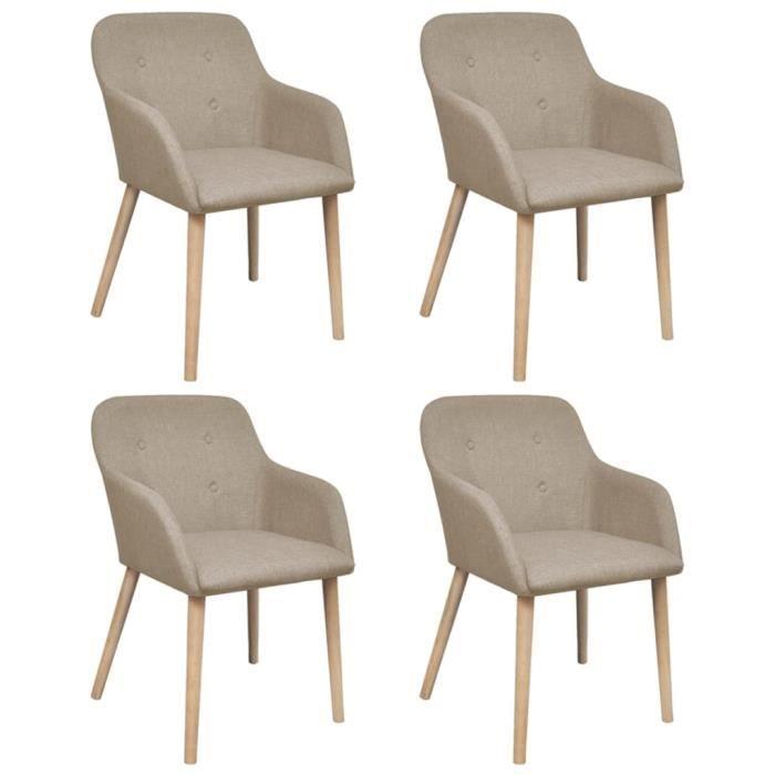 Luxueux Lot de 4 Chaises de salle à manger Design Moderne - Fauteuil Siège de Salon Beige Tissu et chêne massif ♫35607