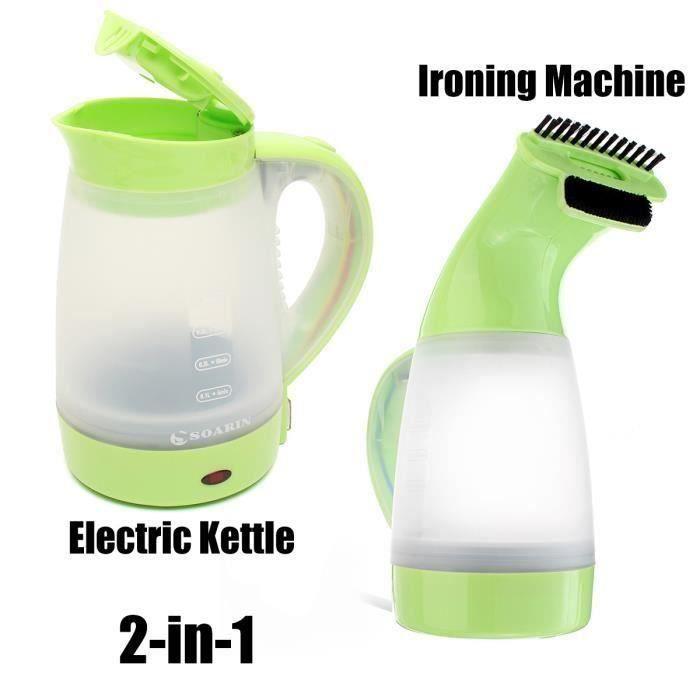 JIE 2 en 1 Bouilloire électrique Vintage et Machine à Repasser Vert