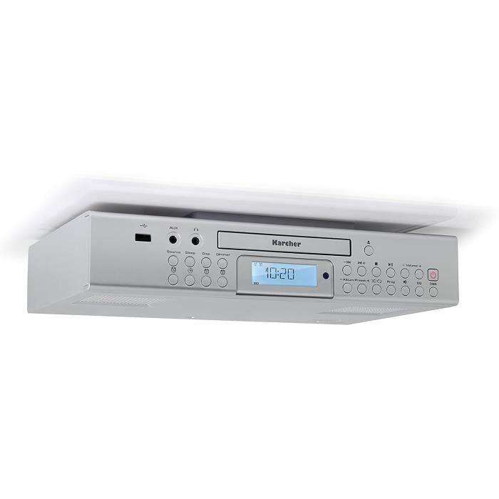 Karcher RA 2050 encastrable avec Radio, Radio FM, Lecteur CD, Lecteur MP3, USB/USB Charger, réveil/de Compte à rebours minuterie Bla