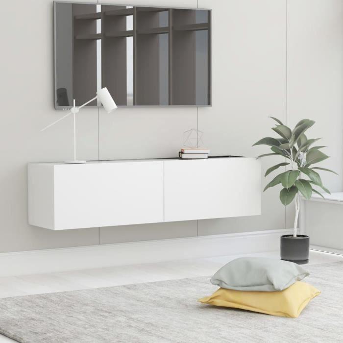Meuble TV Mural Design Tendance Contemporain - Avec 2 Portes Abattantes - Blanc Aggloméré - 120x30x30 cm