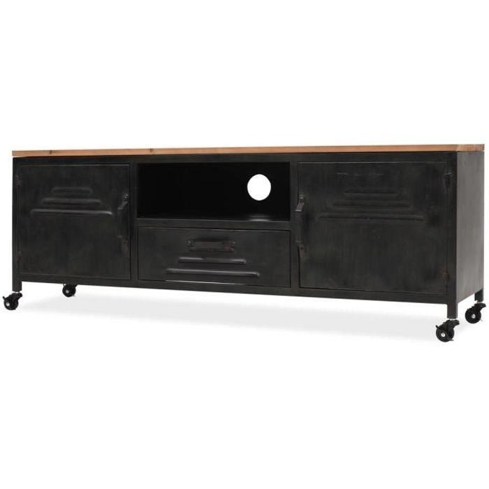 Meuble TV avec 4 Roulettes - Style Industriel - Acier Galvanisé - Noir - 120 x 30 x 43 cm
