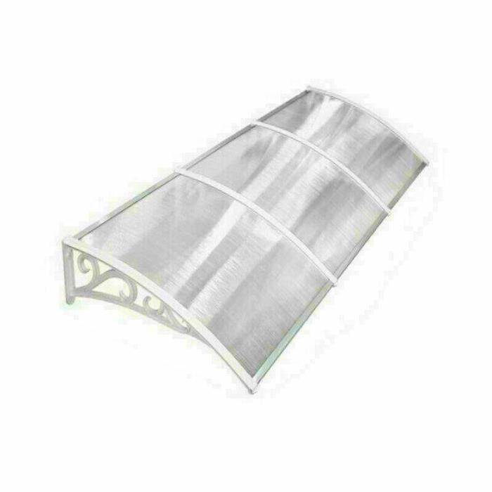 [Soultodaydeals] Marquise de Porte d'entrée en Polycarbonate Transparent anti UV 270cm X 98.5cm,Cadre blanc Pieds