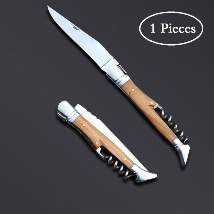 bois d'olive 1 pièces laguiole couteau de poche tire-bouchon-vin bois d'olive