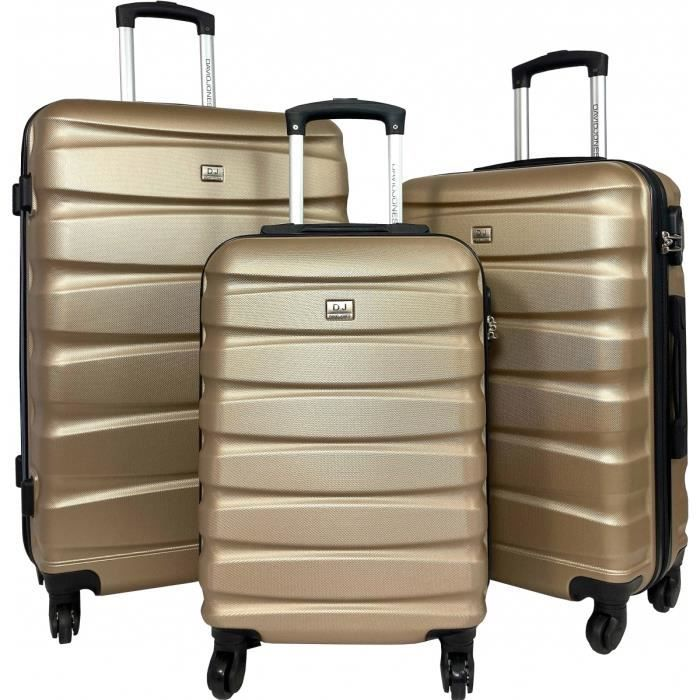 Lot 3 Valises Rigides dont 1 Valise Cabine David Jones ABS CHAMPAGNE - BA10303-CHAMPAGNE