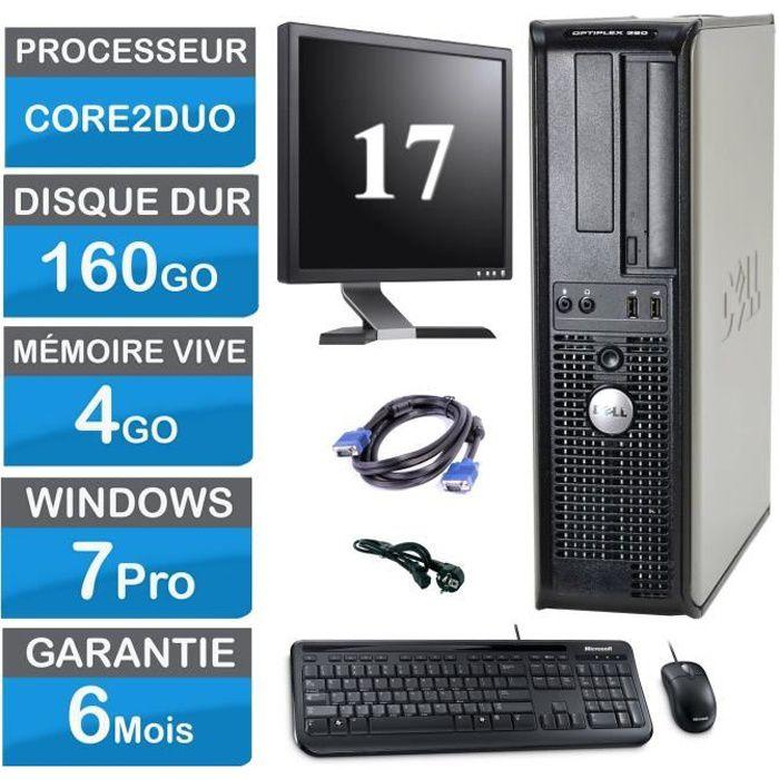Pc complet bureau Dell 380 4Go Ram 160 Go Hdd 17' écran clavier souris câble