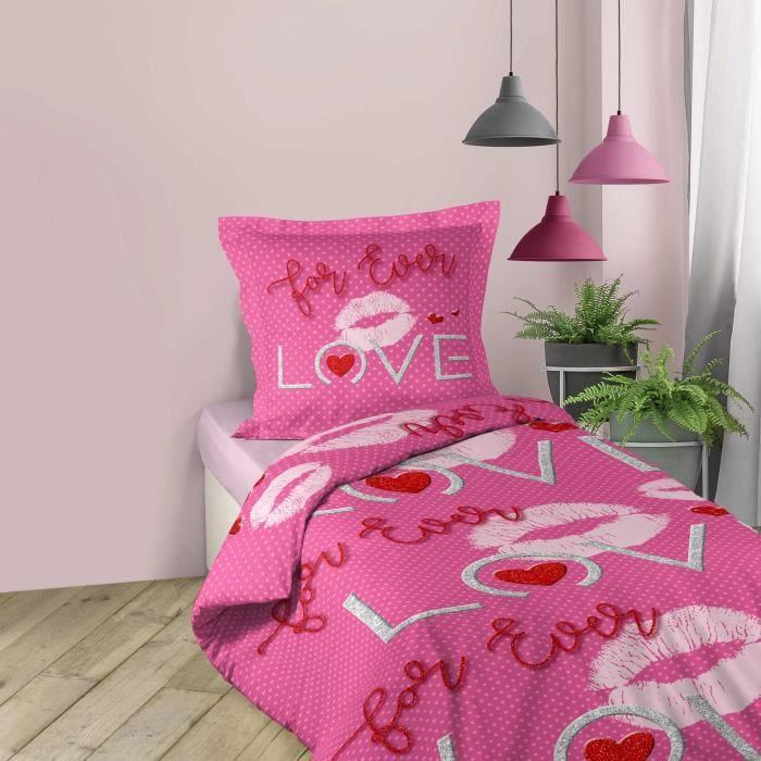 CDaffaires Parure de lit enfant 140 x 200 cm coton imprimé sweet pink
