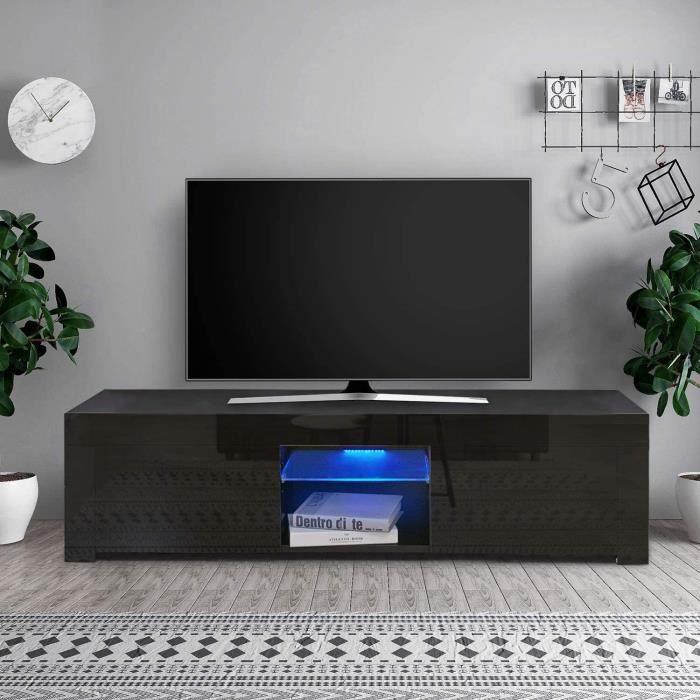 Dripex Meuble TV LED Brillant Noir Contemporain-130 x 35 x 35cm