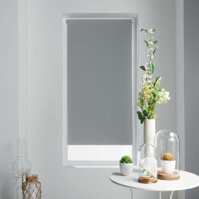 Store Enrouleur Occultant Uni et Coloré Gris 120 x 180 cm