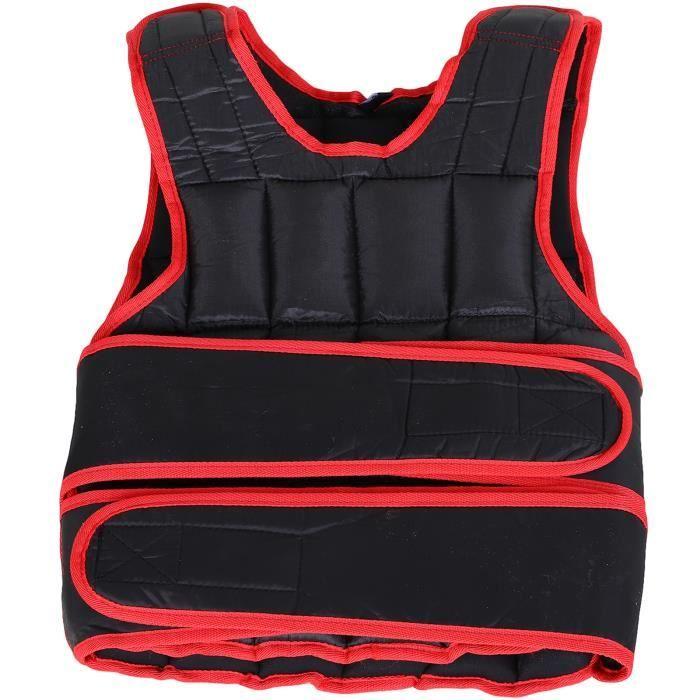 Gilet lesté réglable veste lestée 15 Kg max. poids amovibles entrainement musculation exercice boxe oxford noir rouge 40x1x59cm Noir