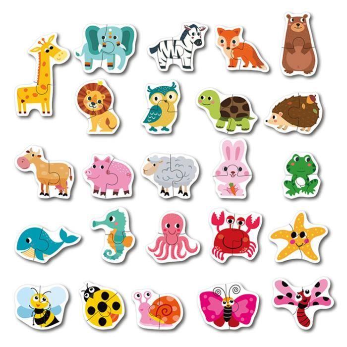 Puzzle Enfants Bébé Bois Animal Cognition Fruits Apprentissage Jouet Éducatif DOD