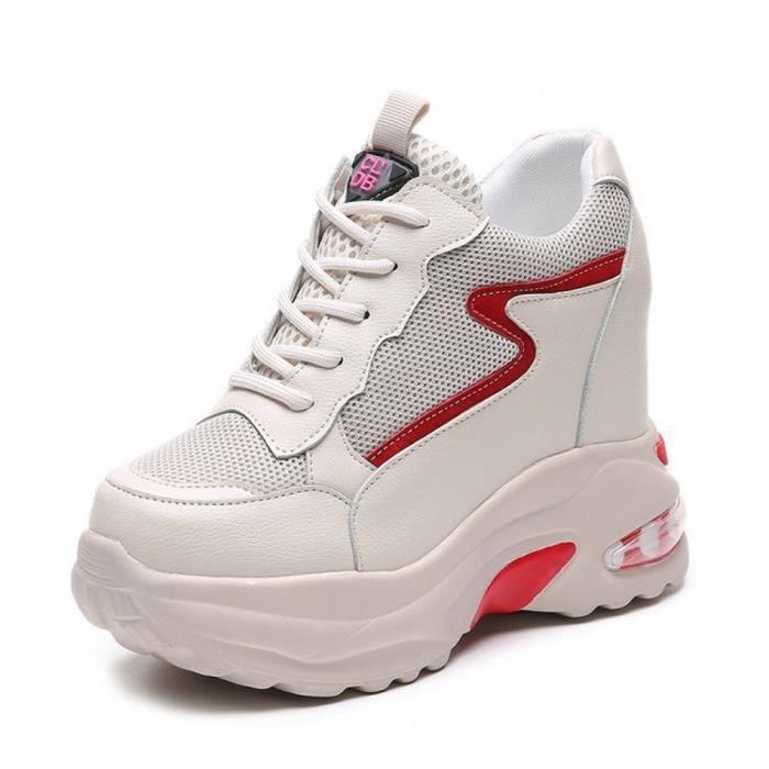Femme Baskets Compensées Talon Compensé Chaussures de Running Compétition pour Trail Course Gym Fitness Jogging  Athlétique Cuir Lac