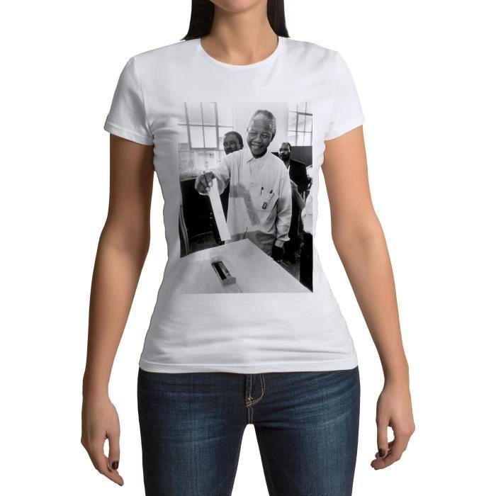 T-shirt Femme Col Rond Nelson Mandela Premier Vote Militant Droits Humains Afrique du Sud