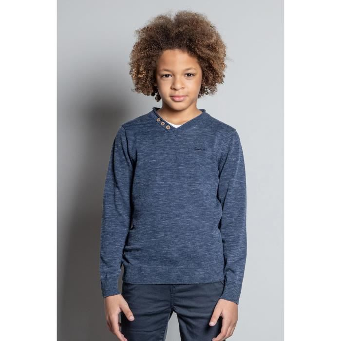 DEELUXE Pull chiné à double col SINGLE Navy Mel