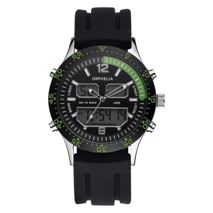 ORPHELIA - Montre Homme - Quartz Analogique - Digital - Bracelet Silicone Noir - 122-6911-44