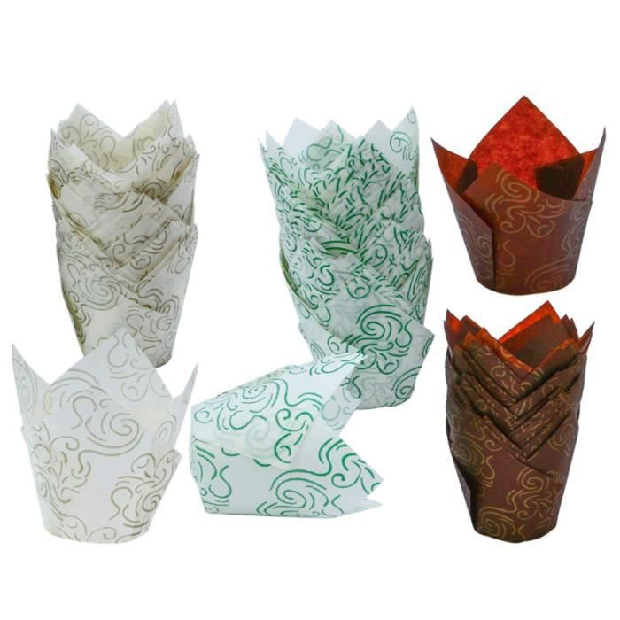 150pcs Tulip Flame Shape Cupcake Wrappers Oil-proof Paper Tray Cake Liner Baking Cup Wraps for Wedding Birthday GATEAU PATISSIER
