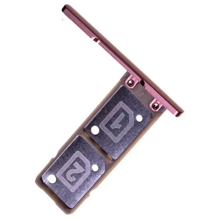 Sony Xperia XA1 Ultra (G3212, G3226) Tiroir Carte Dual SIM, Piece de Remplacement Original, Rose