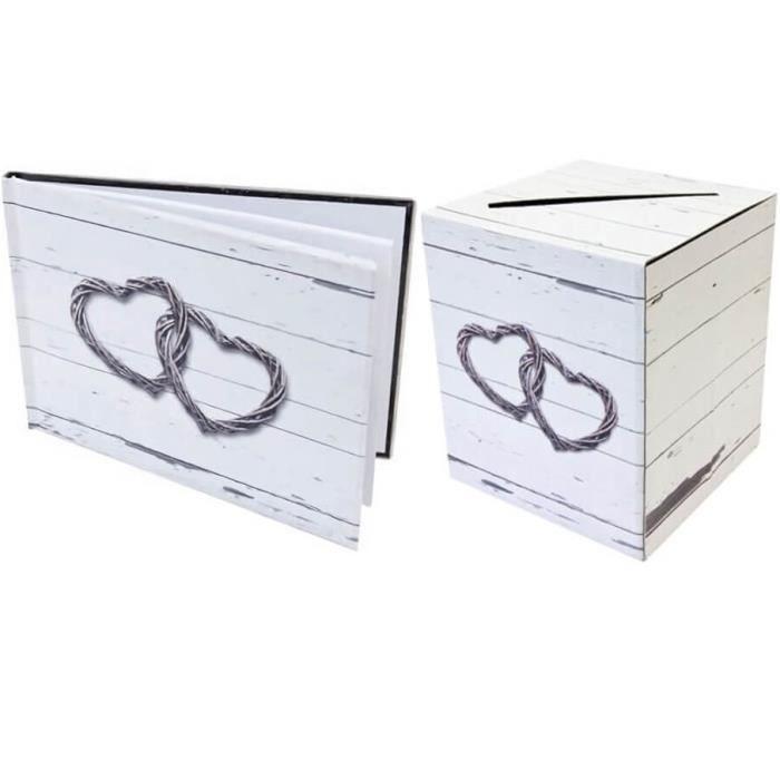 1 Livre d'or élégant + 1 tirelire mariage romantique marron RF/ACM604-ACM605