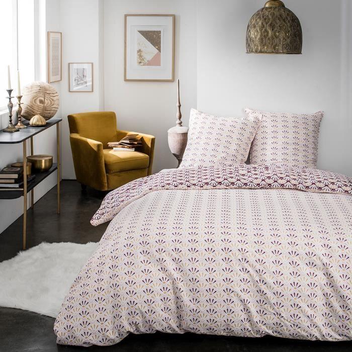 Parure de lit 2 personnes 240X260 Coton imprime bordeaux Graphique SUNSHINE
