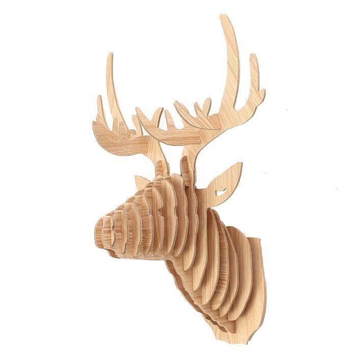 za001-AVANC 3D Tête Wapiti Cerf Bois DIY Décor Blanc