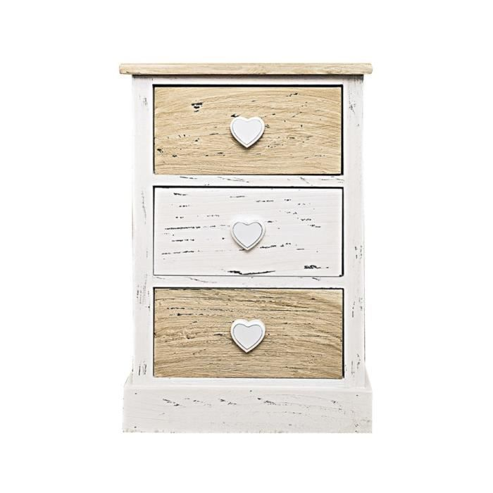 Chevet table de nuit 3 tiroirs romantica bois beige blanc for Modele table de nuit