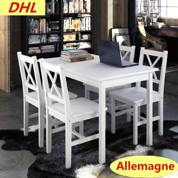 TABLE DE CUISINE  1 ensemble Table en bois + 4 chaises Couleur Blanc