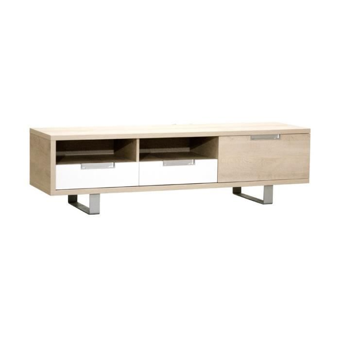 Meuble TV 1 porte 2 tiroirs Chêne clair - DAKAR - L 165 x l ...