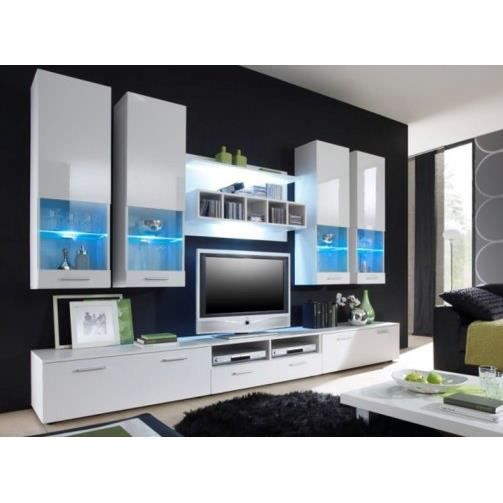 Meuble tv contemporain blanc int gral alfa ii 3 achat for Meuble tv contemporain