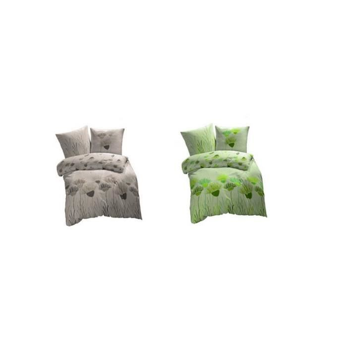 housse de couette en flanelle biloba 220 x 240 cm 240 cm vert achat vente housse de couette. Black Bedroom Furniture Sets. Home Design Ideas