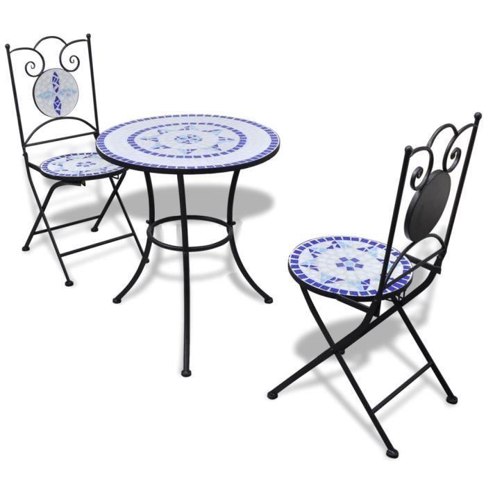 Set table ronde 60 cm mosaïque + 2 chaises bleu / blanc -
