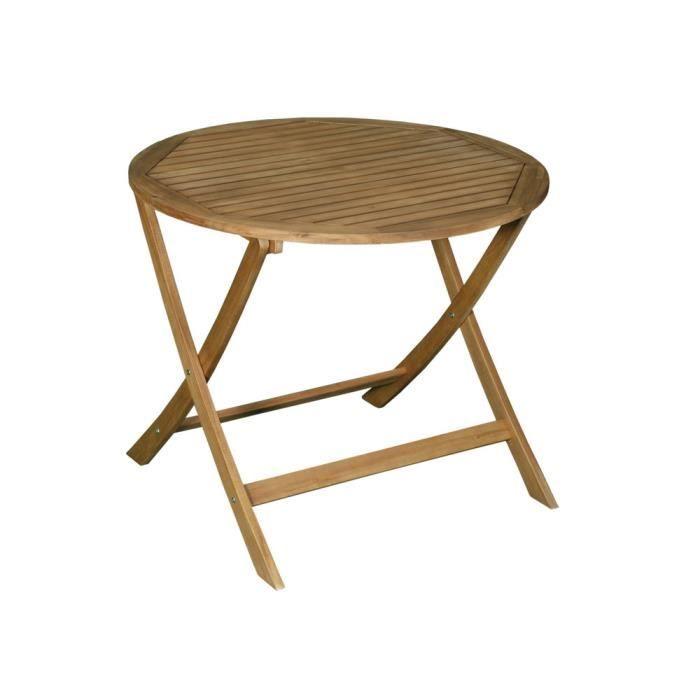 Table de jardin ronde pliante 90cm en acacia FSC LAEMIS ...