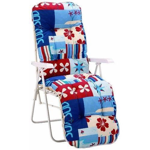 Best 37306904 sylt fauteuil relax blanc achat vente for Fauteuil relax jardin pas cher