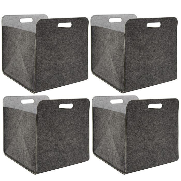 4 Boîtes De Rangement Feutre 33x33x38cm Kallax Panier